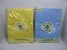 """Sultan's Vinyl Table Cloth Flannel Back 52"""" by 70"""" Light Blue & Yellow Set"""