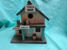 "Vtg Rustic Fishing Shack Bait Shop Birdhouse Decoration 11-1/2"" High"
