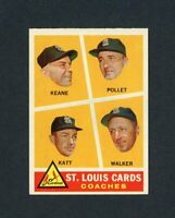 1960 TOPPS # 468 ST LOUIS CARDINALS COACHES KEANE-WALKER  NM +