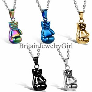 """22"""" Men's Stainless Steel 3D Boxing Glove Sport Pendant Chain Necklace Punk"""
