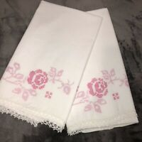 Set of 2 Vintage Hand Embroidered Cross Stitch Pillowcases Pink Roses on White