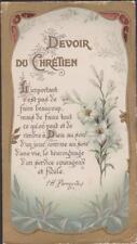 IMAGE PIEUSE HOLY CARD SANTINI - DEVOIR DU CHRETIEN - BOUQUET DE LYS