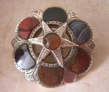 SUPERB ANTIQUE VICTORIAN SCOTTISH AGATE & SILVER BROOCH PIN - RING & STAR DESIGN