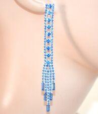 PENDIENTES mujer alambres colgantes strass azul cristales ceremonia fiesta E165