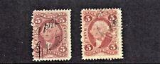 1862-71 Revenue First Issue Washington 5c Lot of 2 Different Sc#R27-  Pen Cancel