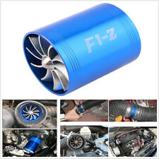 "Dia 2.5"" Alum Car Air Intake Turbonator Double Fan Turbine Turbo Gas Fuel Saver"