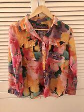 RALPH LAUREN Pink Floral Graphic Silk Blend Blouse Top Size PL 14 16 VGC Petite