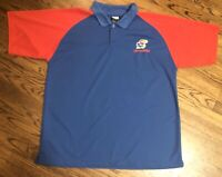 Vintage Kansas Jayhawks NCAA by KA Two-Tone Red Blue Polo Size XL