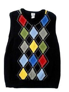 Talbots Kids Boys Size 18 Black  V Neck Vest Knit