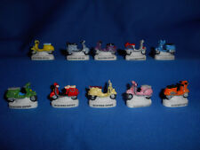 Minature Porcelain MOTOR Sixties SCOOTERS Set of 10 Mini FRENCH FEVES VESPA Tiny