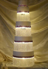 CAKE STAND 7-PC ROUND, LIGHTED CRYSTAL BLING, WEDDING,B-DAY