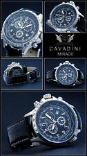 LUXURY CHRONOGRAPH Cavadini Watch Tachymeter Rotatable Ring Face Black