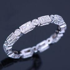 Full Eternity Art Deco .2ct Diamond Silver 925 Wedding Band Engagement Ring 6.5#