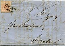 AUSTRIA (TRENTINO), ANNULLO LINEARE TRIENT (1858), FRANCOBOLLO 3 KREUZER     m