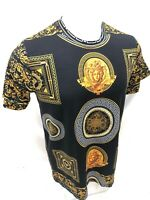 Mens PRESTIGIOUS SHORT Sleeve BLACK GOLD MEDUSA HEAD SILKY Shirt GOLD LEAF 110