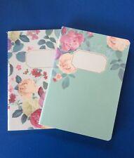 Set Of 2 ~ Modern Vintage Floral Design Lined, 30 Sheets Each/A5 Notebook