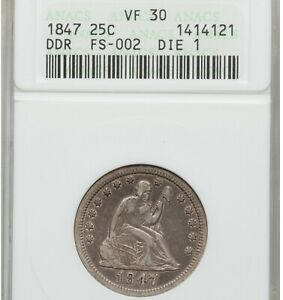 1847 DDR 25c ANACS VF30 old small holder double die reverse Seated Quarter