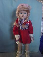 Arranbee R&B Vintage Hard Plastic Sonja Henie Ice Skater Doll W/ Orig Mittens!