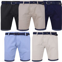 NEW Mens Belted Chino Shorts Summer Casual 100% Cotton Regular Fit S M L XL XXL