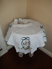 "New Embroidered White Cotton ChristmasTablecloth tableTopper 30""X30"" & 4 Napkins"
