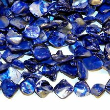 MPX1119e 10-Strands Blue Diamond Nugget 16mm - 20mm Mother of Pearl Shell Beads