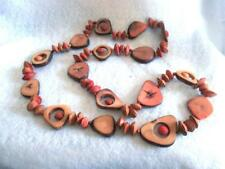"""32"""" Unique Necklace Tribal Style Faux Wood Bone Seed Pods No Clasp Red Browns"""