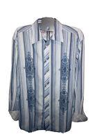 Robert Graham Men's Blue White Striped Long Sleeve Flip Cuff Button Up Shirt XL