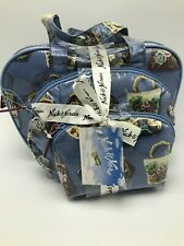 Nick & Nora 3 Piece Set Cosmetic Toiletry Bag Tapestry Purse Print NWT