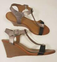Next size 6 (39) mauve / black faux leather buckle strap wedge heel sandals