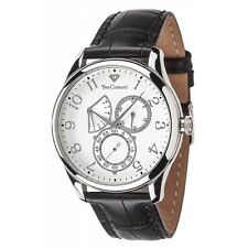 YVES CAMANI ROUBION YC1056-A Retrograde Mens Day&Date StainlessSteel Leather New