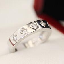 5 stone Diamond engagement ring, wedding band. With 5 diagonally set princess cu