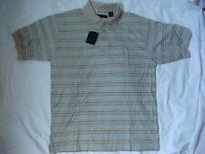 NEW Stylo Short Sleeve 100% Cotton Tan/Blue Pattern Size Medium Golf Shirt(B728)