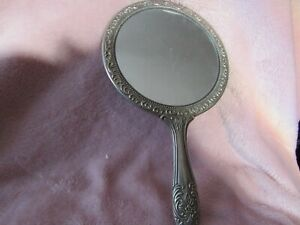 Hand Held Vintage silver plated Mirror