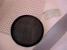 Bastel-Sparset schwarz Hutnetz Crinoline Metallkamm Sinamay Fascinator Hüte DIY
