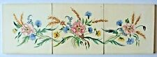"Panel of 3 hand painted 6""sq floral tiles by Packard & Ord, 1952"