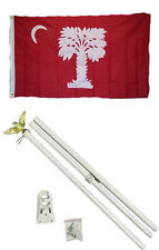 3x5 State of South Carolina Big Red Flag White Pole Kit Set 3'x5'