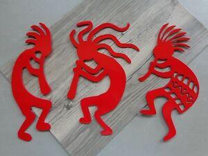 "Set of 3 Small Kokopelli Musicians Metal Wall Art 11"" Tall Bright Red Finish"