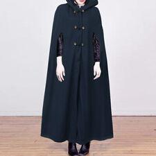 UK Womens Sleeveless Trench Coat Open Front Ladies Retro Jacket Coats Cape Cloak