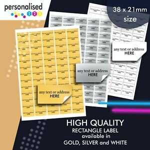 260 Personalised Gold Labels Silver Stickers White Printed Address Custom Text