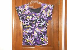 Multi Colored Purple & Black Print Blouse size L Fluttery Sleeves and Hem