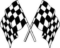 Autocollant sticker voiture moto double drapeau damier course