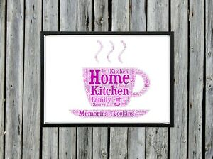 Personalised A4 Word Art Tea Saucer Kitchen Home Gift Photo Picture Print Image