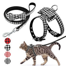 Bowknot Cat Walking Harness and Leash Set Escape Proof Adjustable Chihuahua SML
