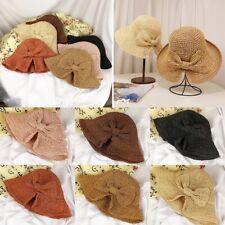 21673153c1552 Women Straw Boater Sun Hat Round Bow Flat Caps Brim Ladies Summer Visor Cap