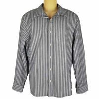 MICHAEL KORS Tailored Fit Mens Pinstripe Black White Button Collar Dress Shirt L