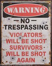 Blechschild - Warning No Trespassing -  Nostalgieschild-Deko- 25cm x 20 cm