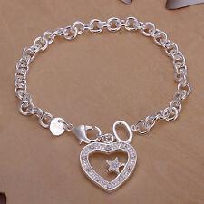 """Women's Unisex 925 Sterling Silver Bracelet Heart Zirconia 8.5"""" L35"""