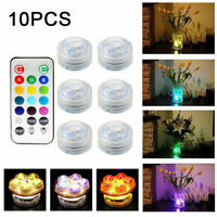 10x Waterproof LED RGB Submersible Light Party Fish Tank Lamp W/ Remote Control