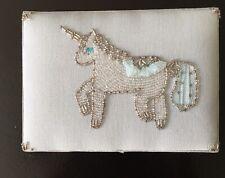 Pottery Barn Kids Satin/ Silk Jewelry Box With Beaded Unicorn, Porcelain Blue