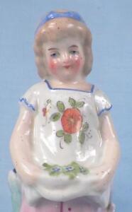 Antique Match Striker Girl Gathering Flowers Victorian Porcelain Holder Scarce